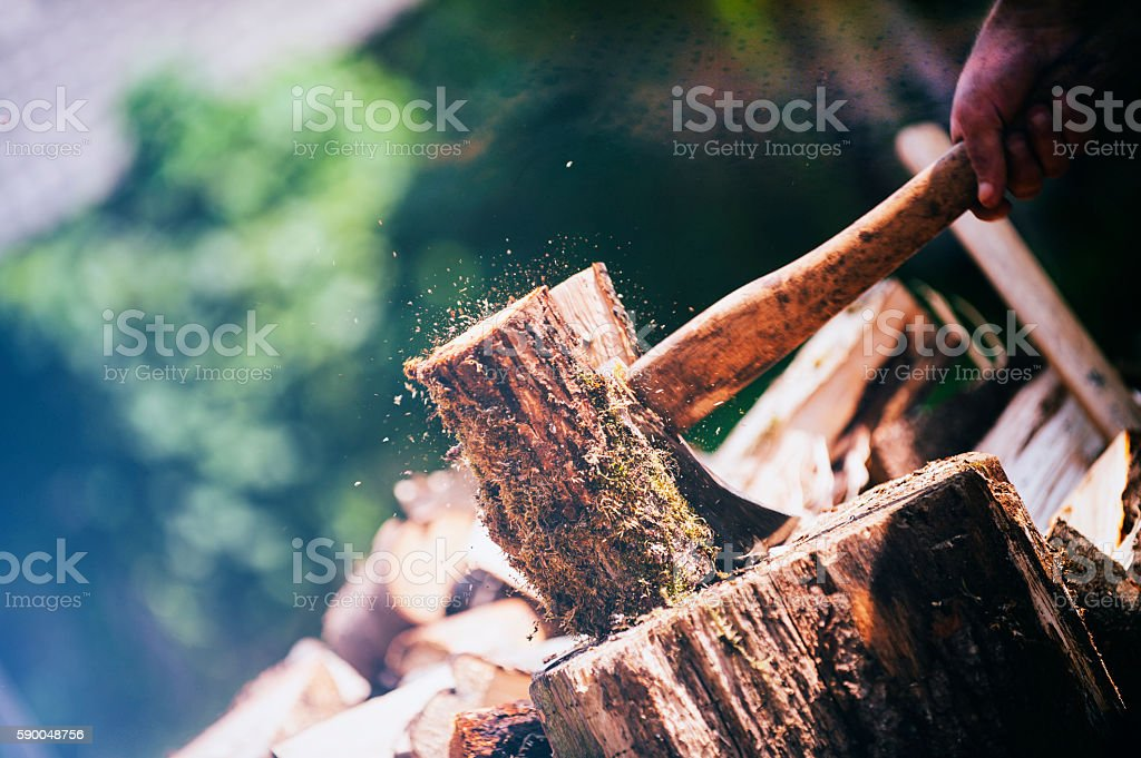 Chopping wood stock photo