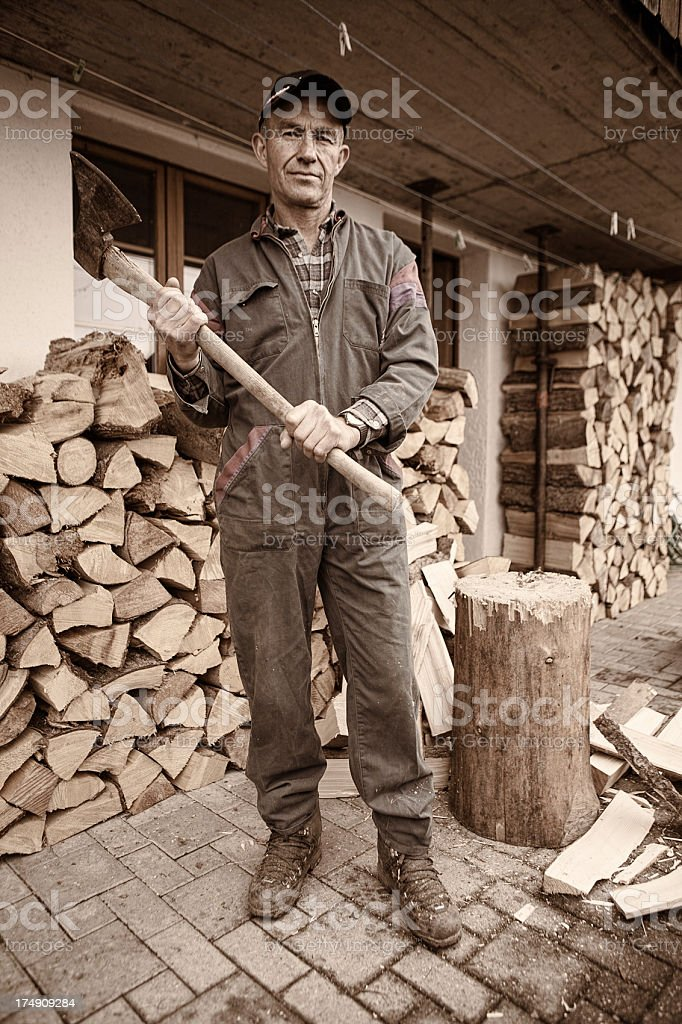 Chopping Wood Portrait royalty-free stock photo