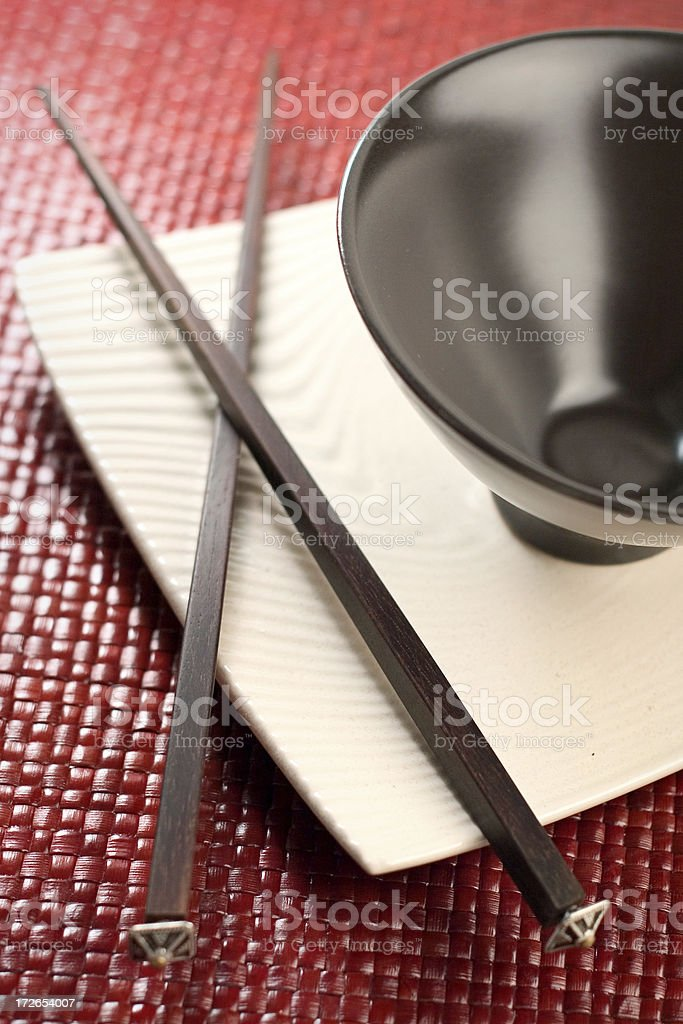 Chopsticks and Rice Bowl royalty-free stock photo