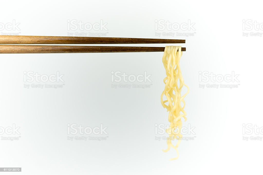 chopsticks noodles isolated on white background stock photo