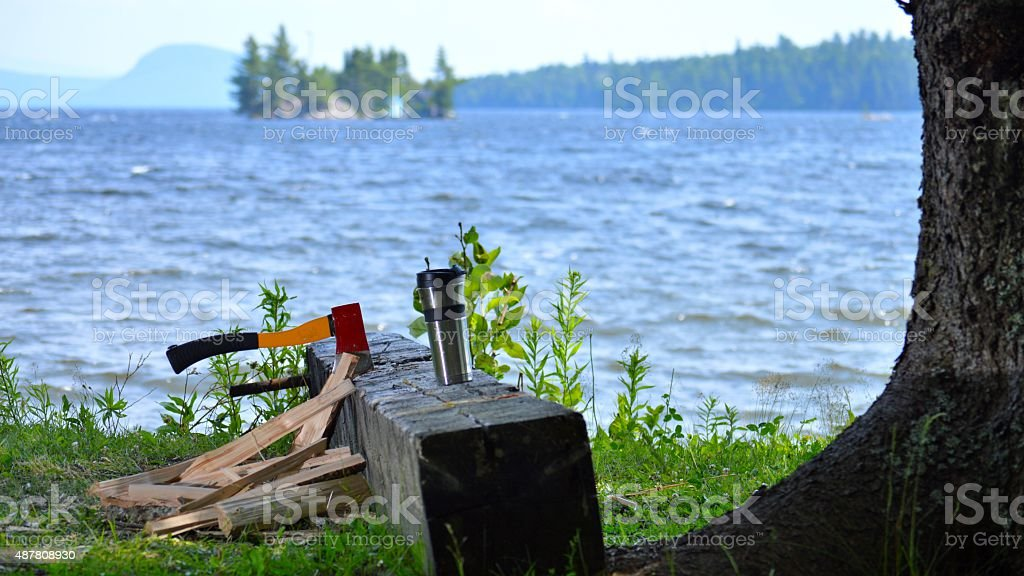 AM Chores Lakeside With Coffee stock photo