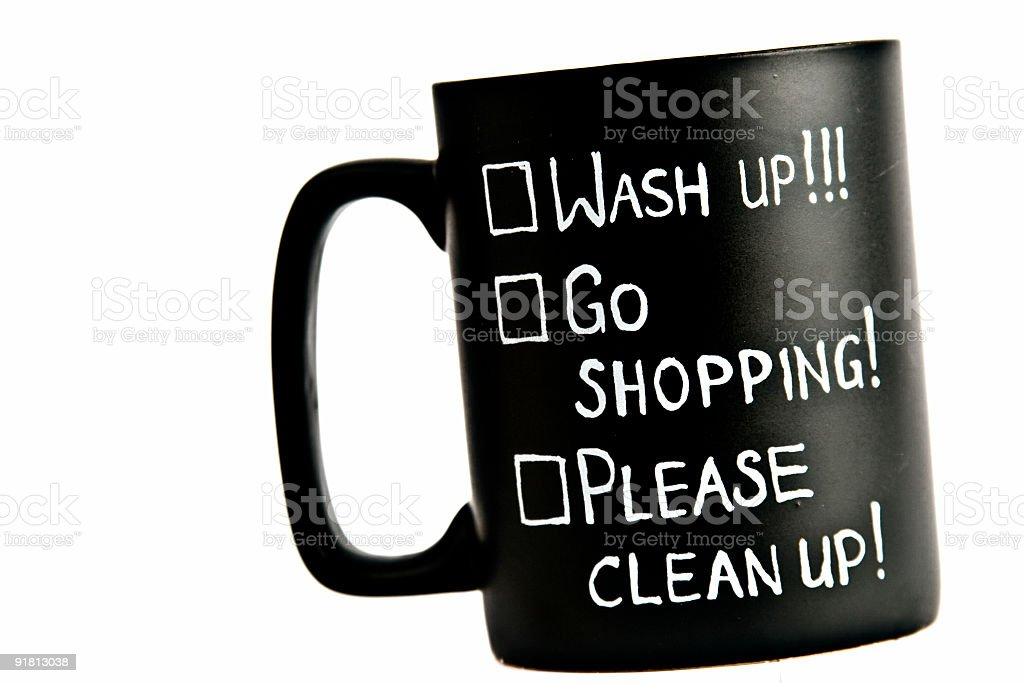 chores list cup stock photo