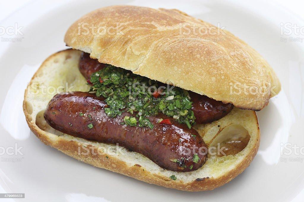 choripan, Argentine style chorizo hot dog stock photo