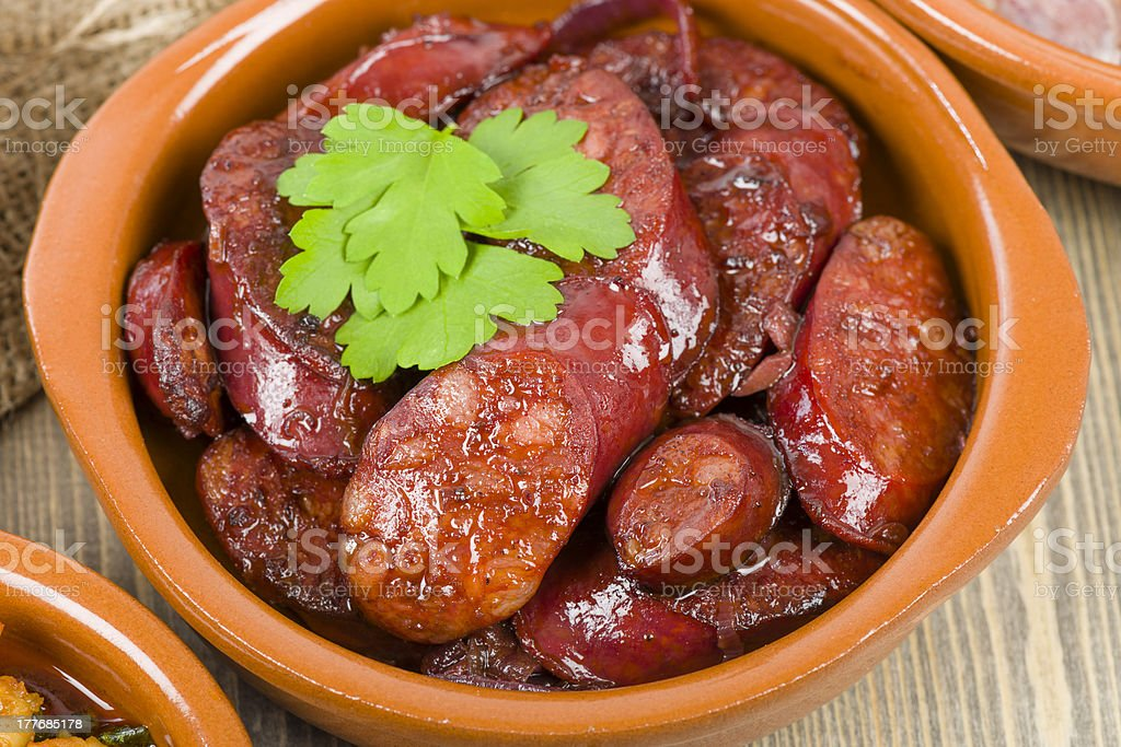 Chorizo al Vino royalty-free stock photo
