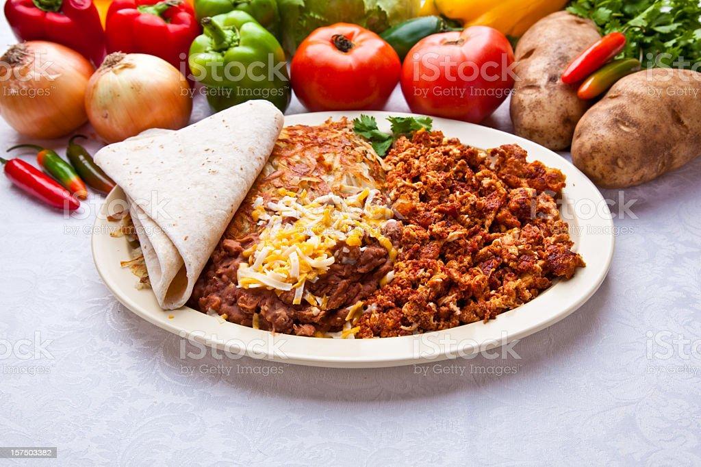 Chorizo and Eggs stock photo