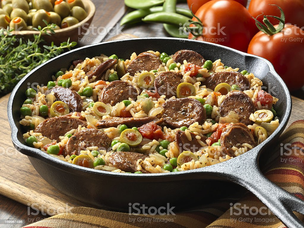 Chorizo and Spanish Rice Skillet Dinner royalty-free stock photo