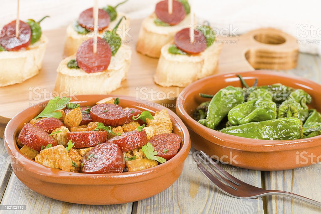 Chorizo & Bread and Padron Peppers Tapas royalty-free stock photo