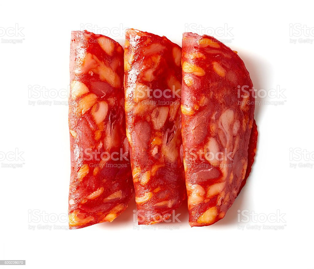 Chorizo sausage on white background stock photo