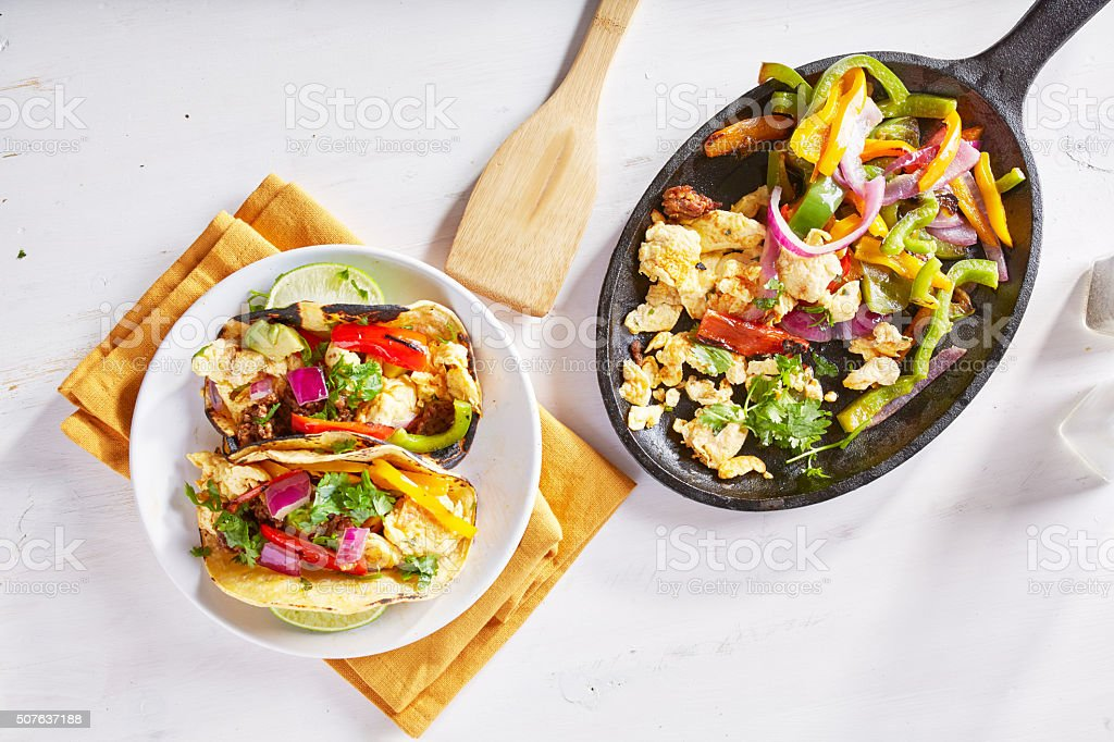 chorizo scrambled eggs fajita skillet meal stock photo