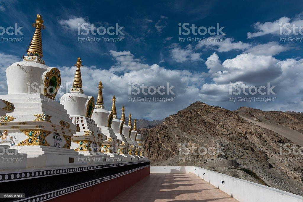 Chortens in Thiksay monastery stock photo