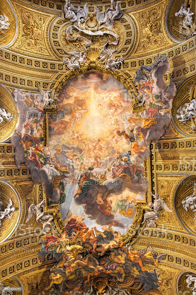 Chorus of Basilica Il Gesu, Rome, Italy. Ceiling view stock photo