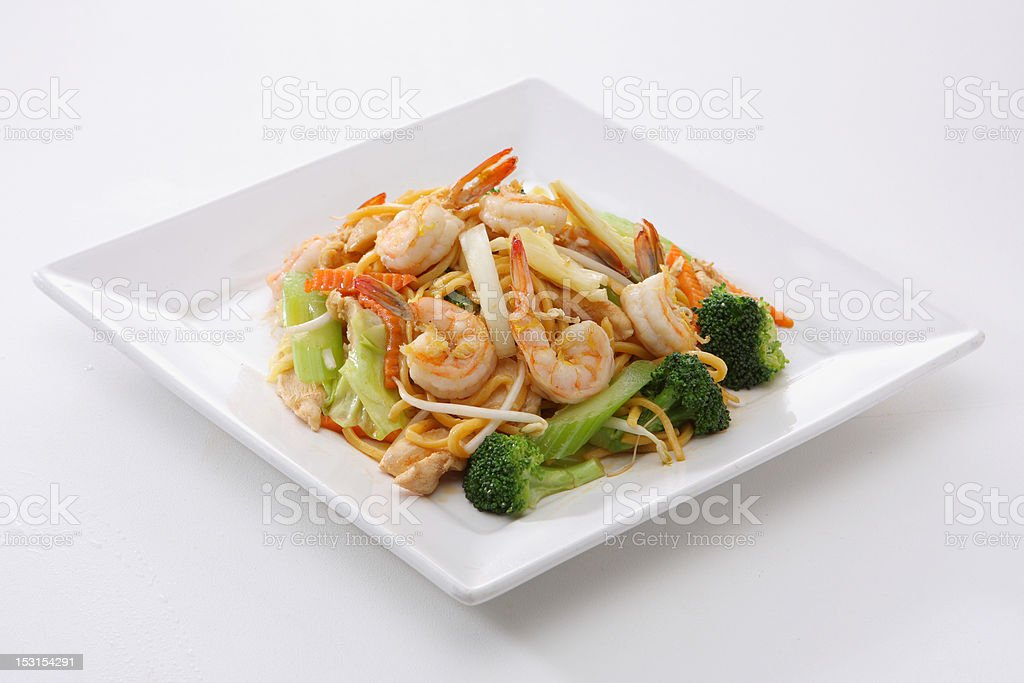Chow Mein Shrimp stock photo
