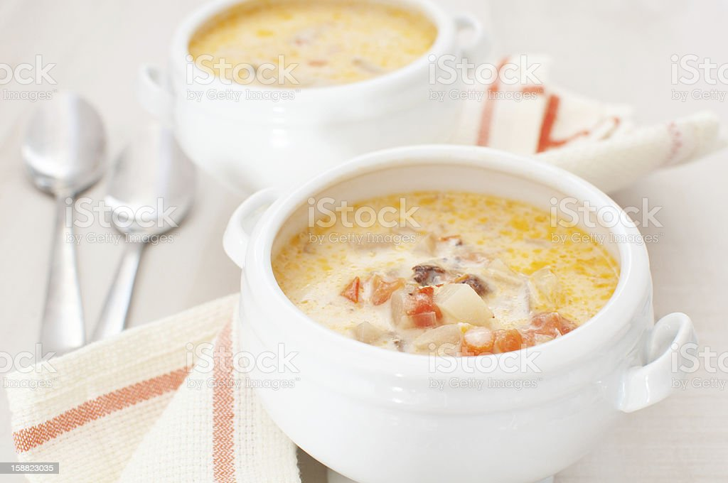 Chowder soup with vegetables  and heavy cream stock photo