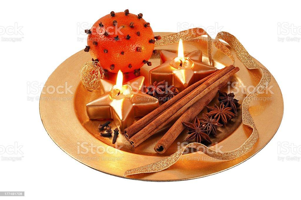 Chrismas Candle plate stock photo