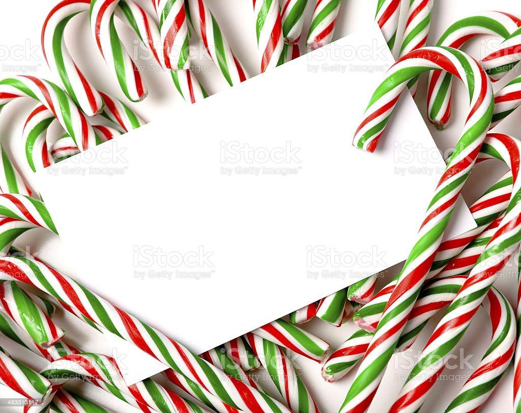 Chrismas Candy Cane Notecard or Invitation royalty-free stock photo