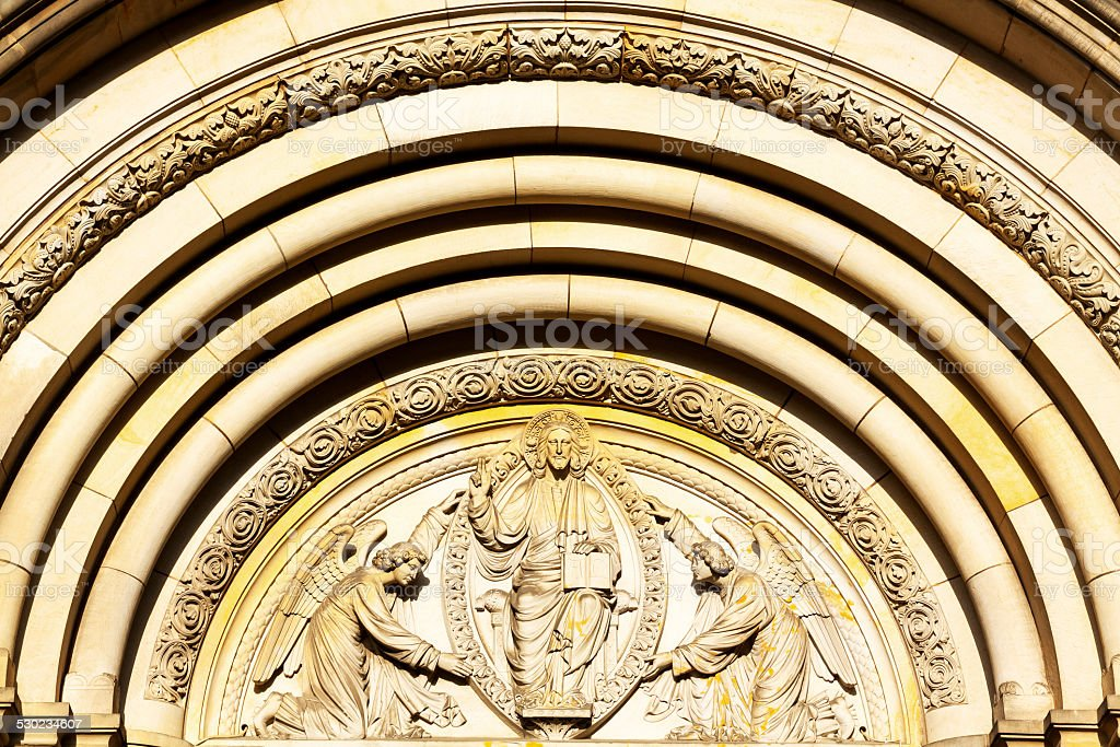 Christ and angels stock photo