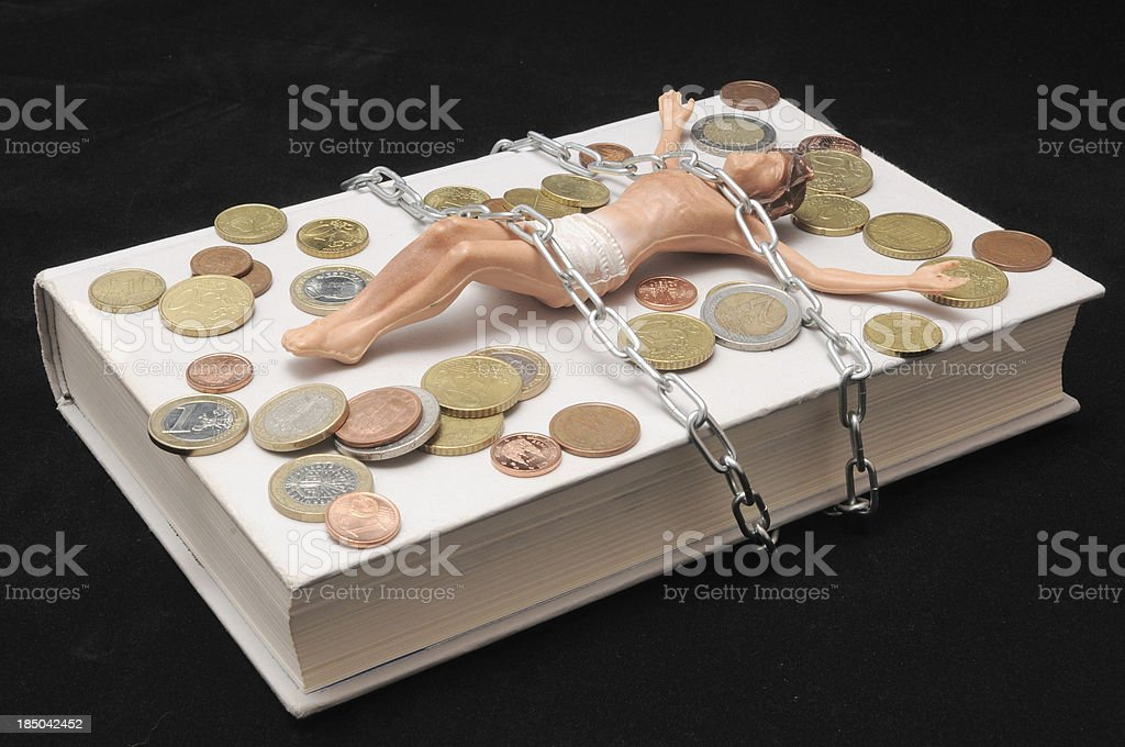 Christ and Money royalty-free stock photo