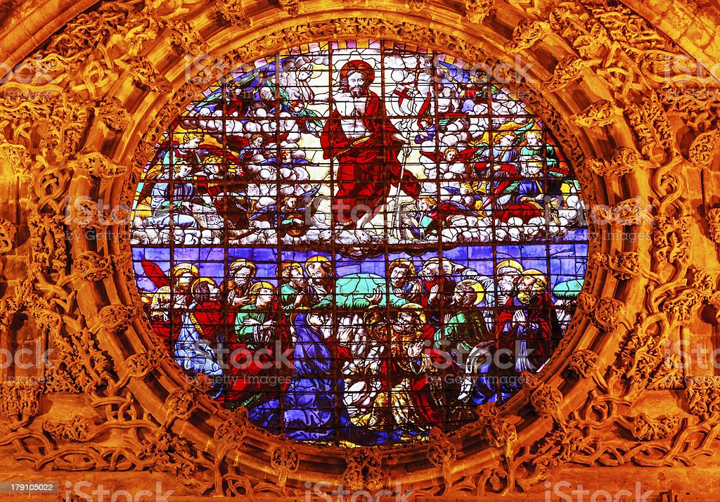 Christ Ascension Stained Glass Cathedral Saint Mary Seville Spain royalty-free stock photo