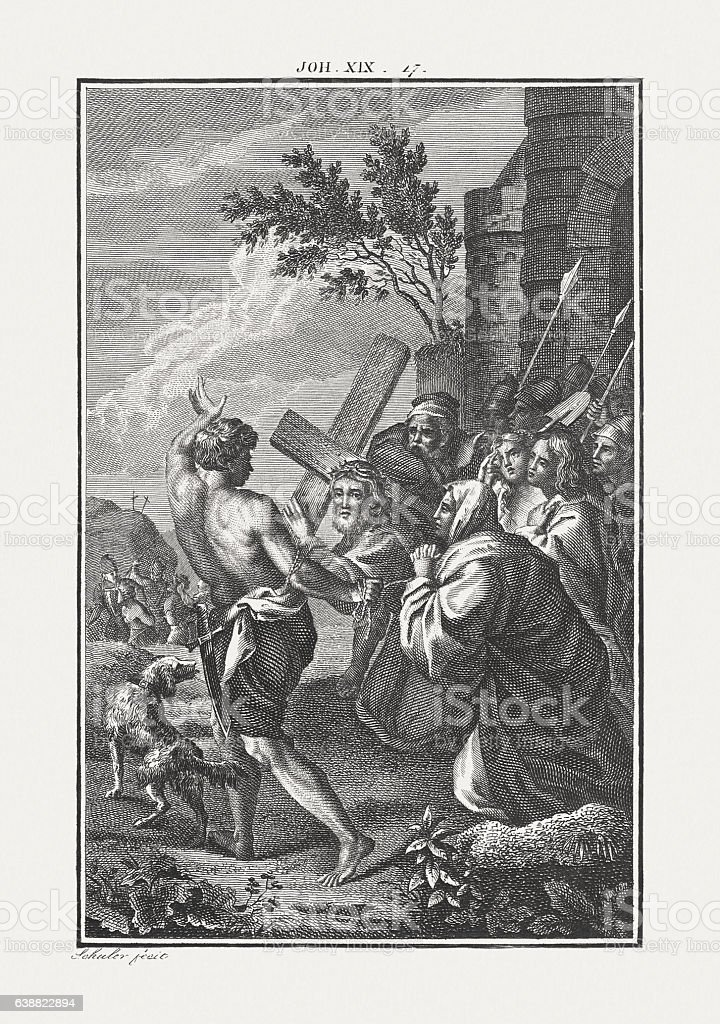 Christ Carrying the Cross (John 19), copper engraving, published c.1850 stock photo