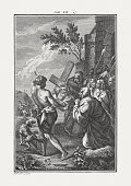Christ Carrying the Cross (John 19), copper engraving, published c.1850