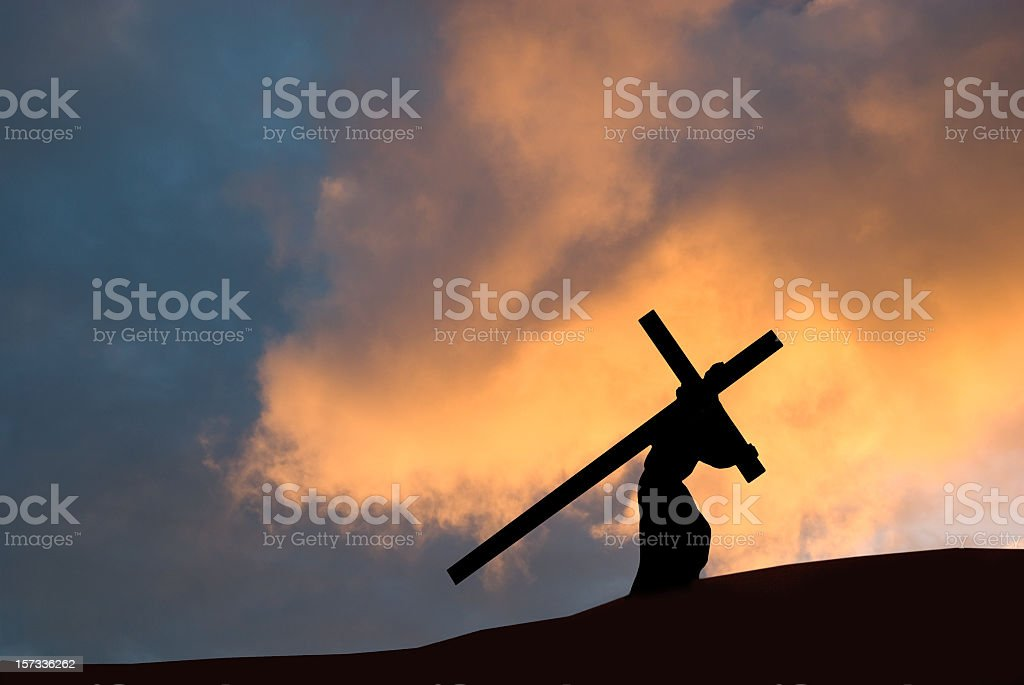 Christ carrying the cross on Good Friday royalty-free stock photo