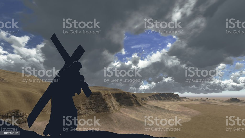 Christ carrying the cross royalty-free stock photo