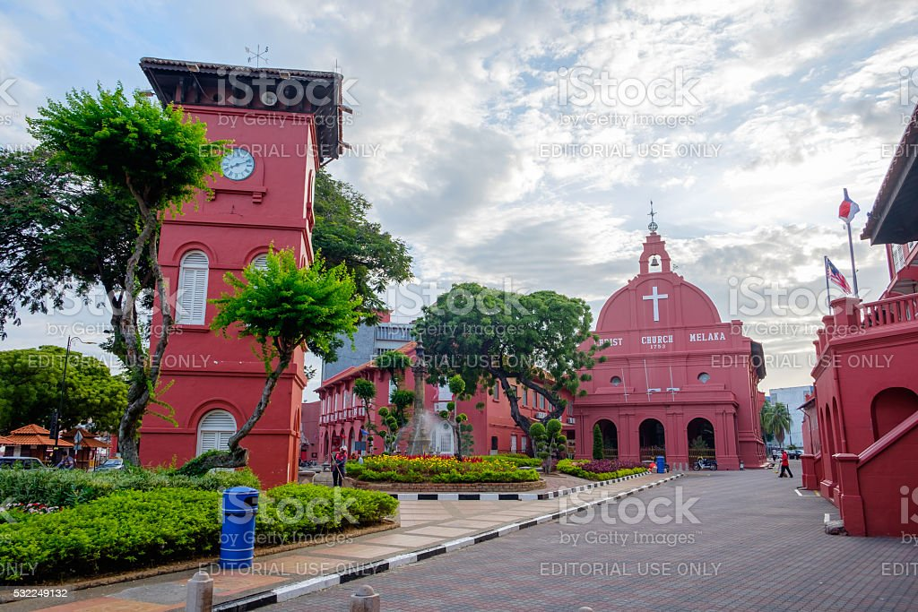 Christ Church and Dutch Square in Malacca, Malaysia stock photo