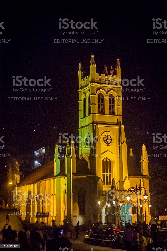 Christ Church at night, Shimla, Himachal Pradesh, India stock photo