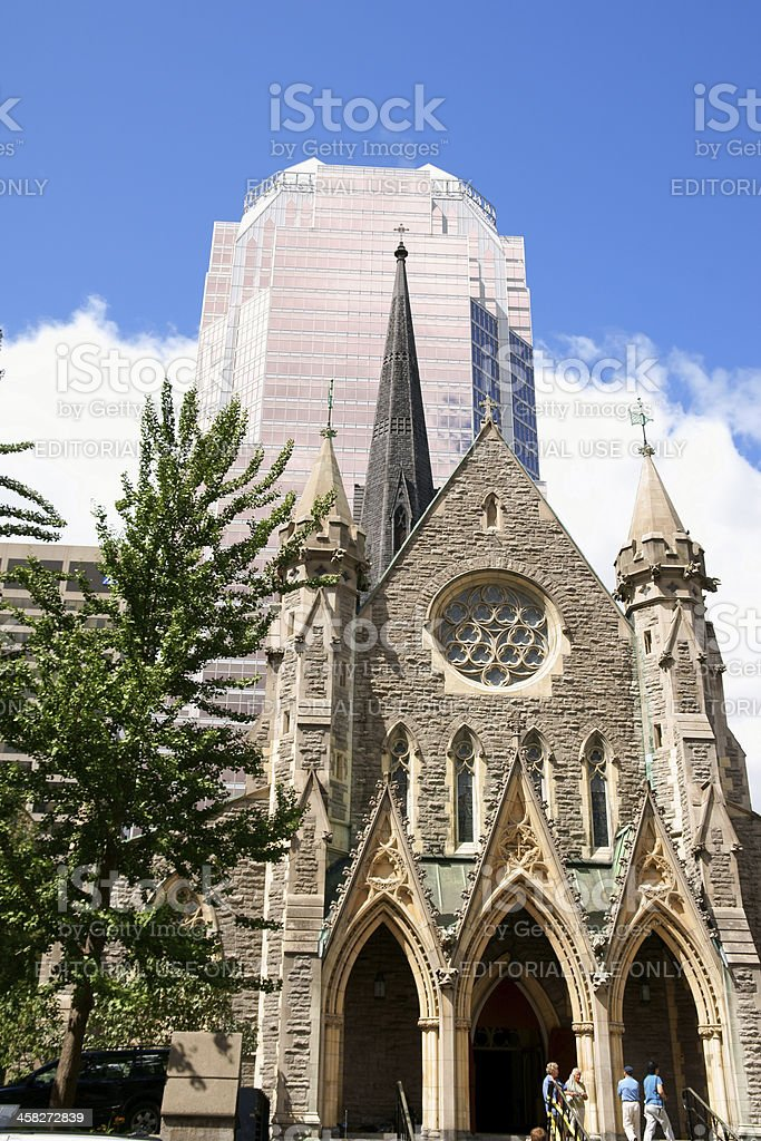 Christ Church Cathedral and KPMG Tower in Montreal royalty-free stock photo