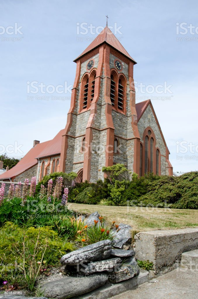 Christ Church Cathedral - Port Stanley stock photo