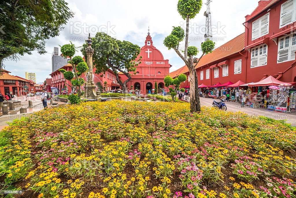 Christ Church & Dutch Square in Malacca City, Malaysia. stock photo