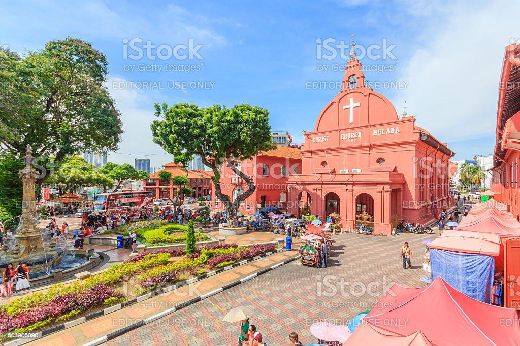 Christ Church & Dutch Square in Malacca, Malaysia. stock photo