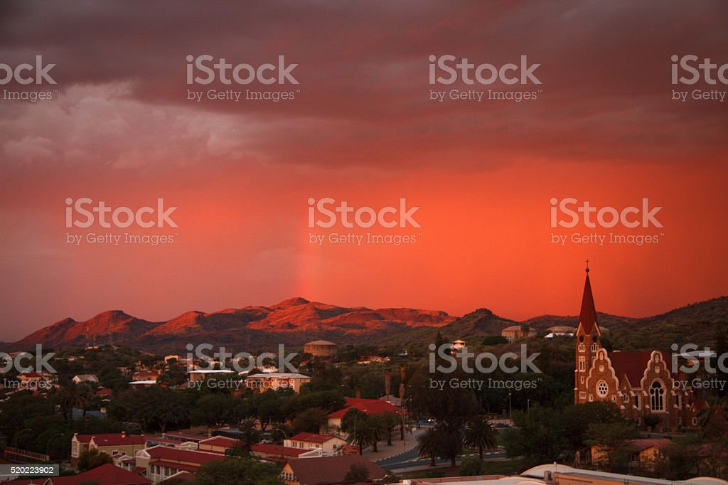 Christ Church in Windhoek at dusk stock photo