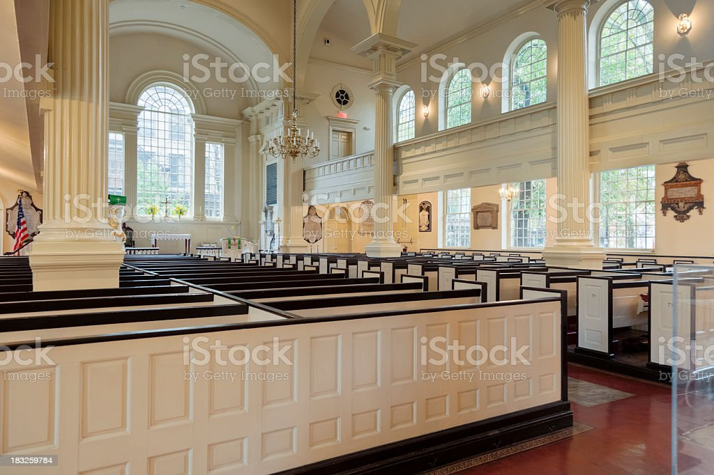 Christ Church (Philadelphia) Interor with Rows of Box Pews stock photo