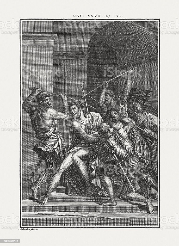 Christ crowned with Thorns (Matthew 27), copper engraving, published c.1850 stock photo