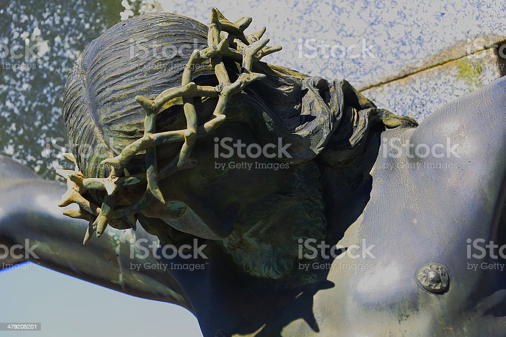Christ Crucified Crowned with Thorns close-up stock photo