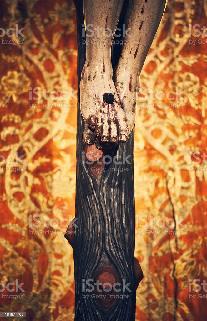 Christ crucified feet royalty-free stock photo