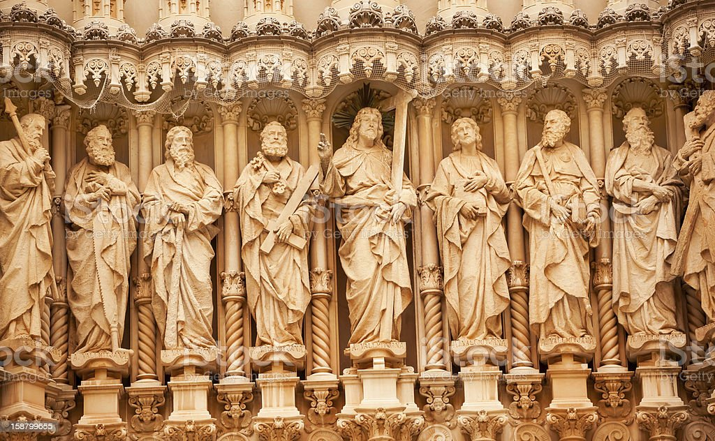 Christ Disciple Statues Monastery Montserrat Catalonia Spain stock photo
