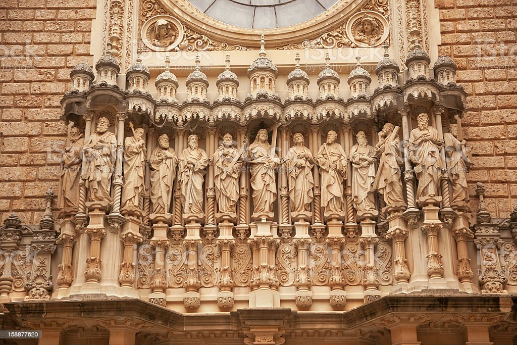 Christ Disciples Statues Facade Monastery Montserrat Catalonia Spain stock photo