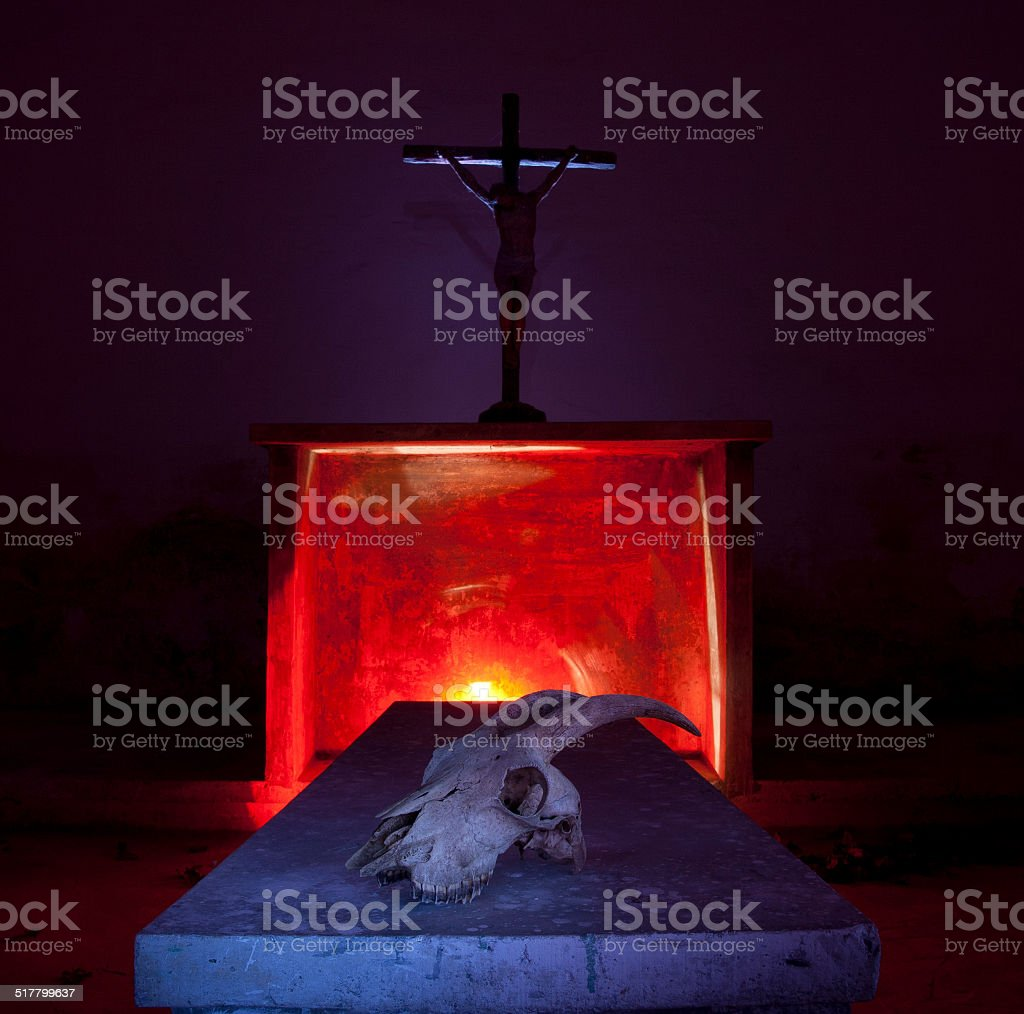 Christ & goat skull stock photo