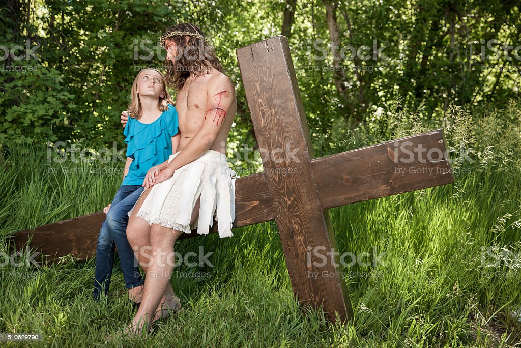 Christ in Agony Comforts Girl stock photo