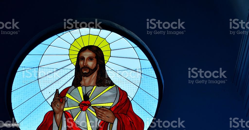 Christ in Stained Glass stock photo