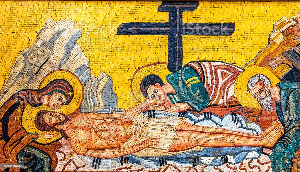 Christ Mary Cross Mosaic Saint George Church Madaba Jordan stock photo