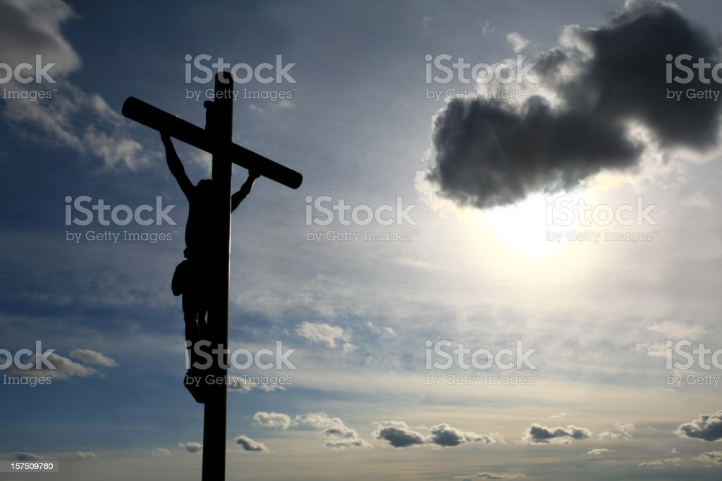 Christ on the Cross Easter Silhouette royalty-free stock photo