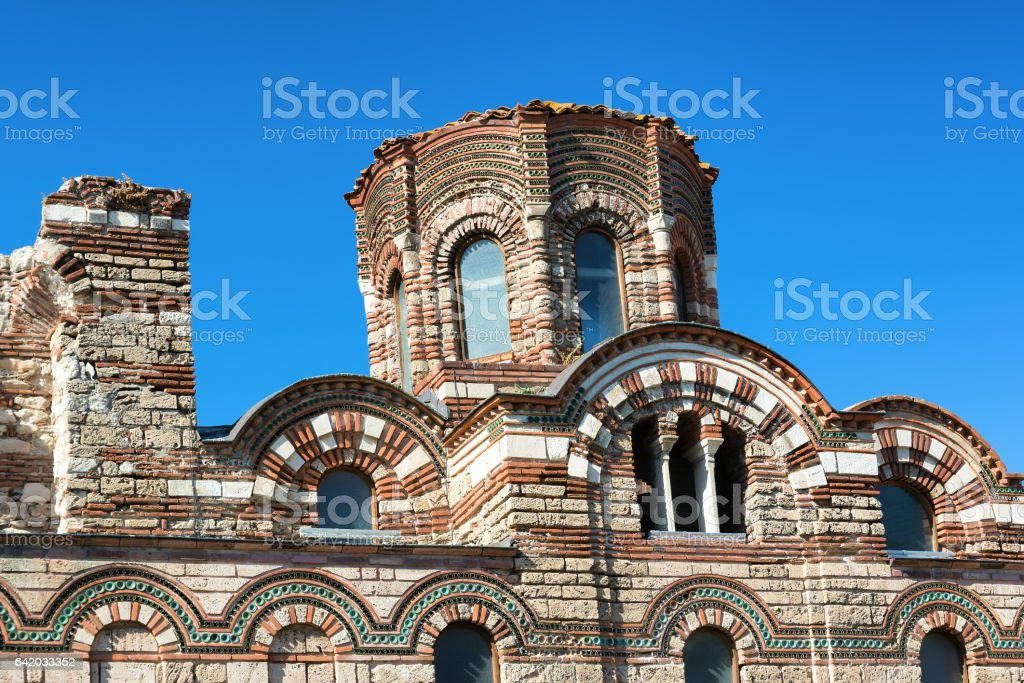 Christ Pantocrator Church in Old Nessebar town, Bulgaria stock photo