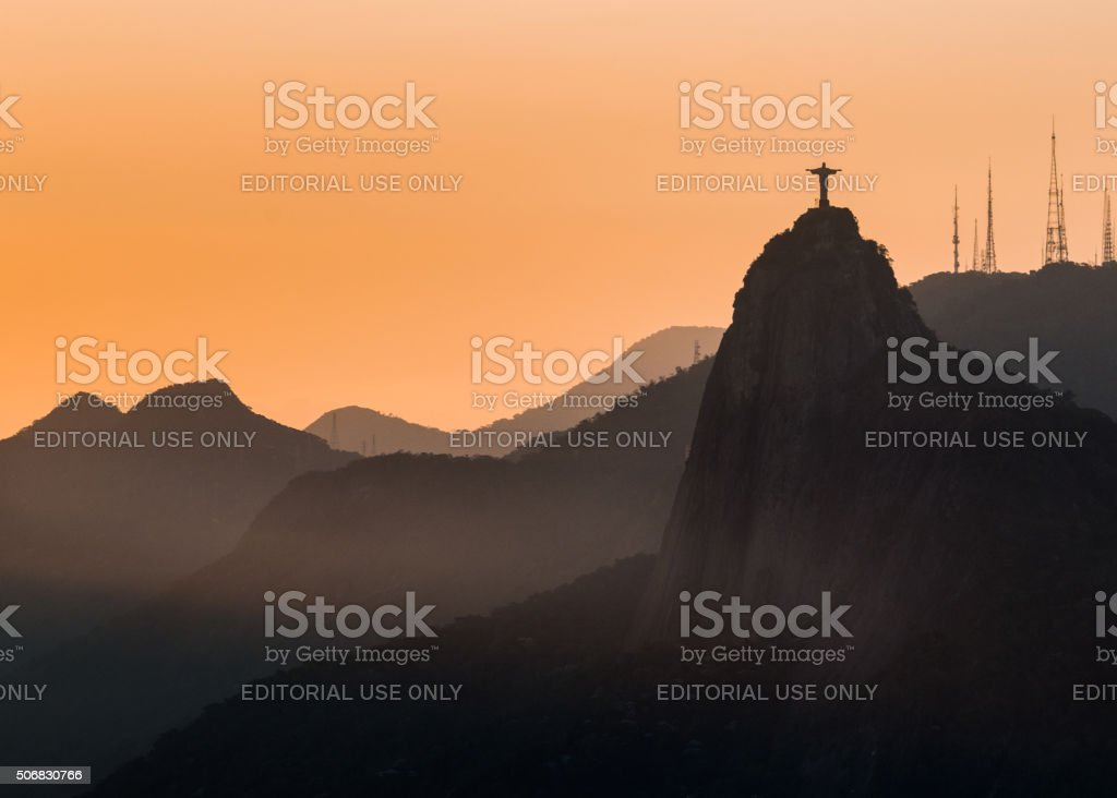 Christ the Redeemer and Corcovado Mountain silhouette royalty-free stock photo