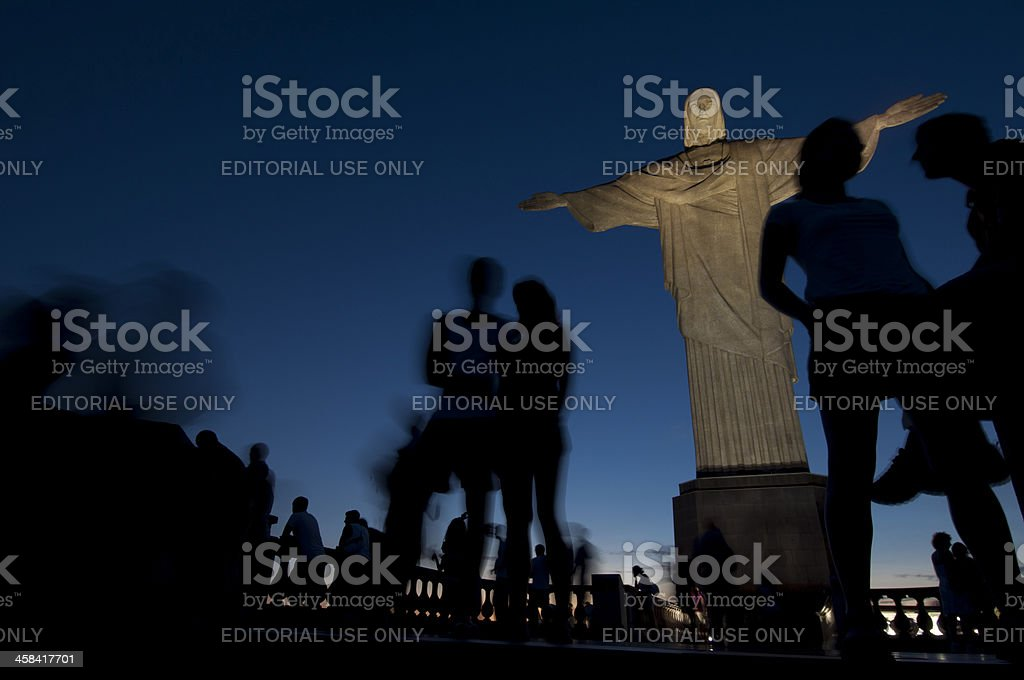 Christ the redeemer and tourists royalty-free stock photo