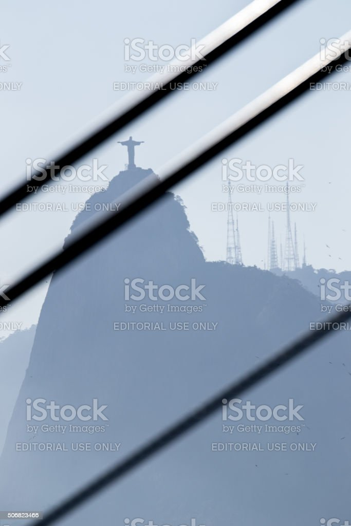 Christ the Redeemer behind cables royalty-free stock photo