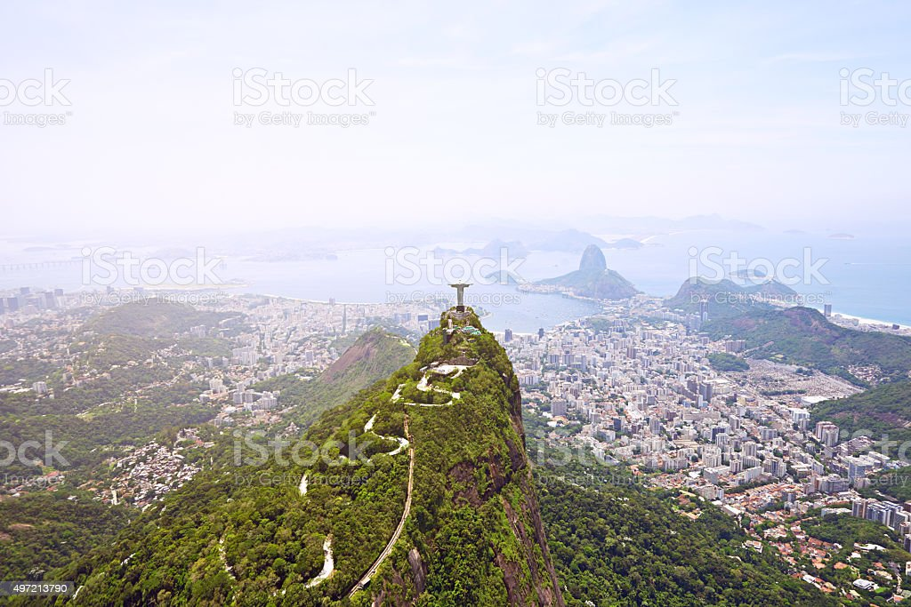 Christ the Redeemer overlooking the city Rio stock photo
