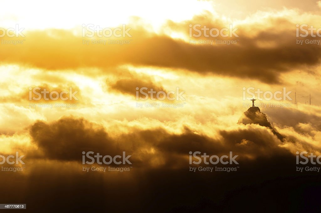 Christ the Redeemer Statue in Clouds royalty-free stock photo